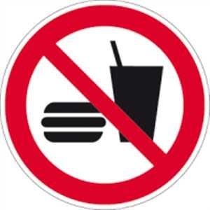 Schild Essen und Trinken verboten 20cm Ø Alu gemäß ISO 7010, P022