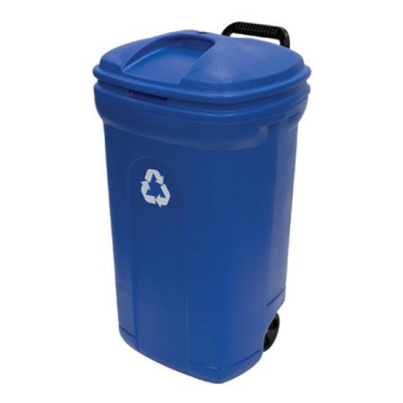 United Solutions 34-Gallon Wheeled Rectangular Blow Molded Trash Can, Recycling Blue (1)
