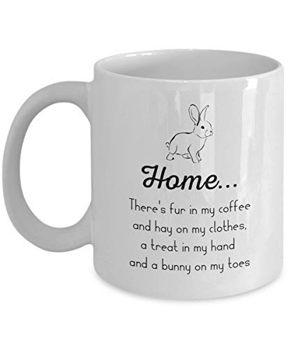 Roman Lin Home. There's Fur In My Coffee and Hay On My Clothes - Bunny Rabbit Mug, White, 11 oz - Unique Gifts by