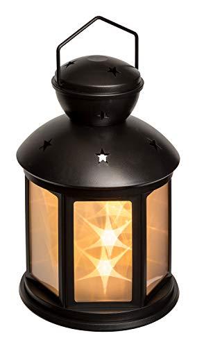 Idena 31336 - LED Laterne in warmweiß, batteriebetrieben, Sternmotiv mit 3D Hologramm-Effekt, 2 Leuchtmodi, ca. 13 x 13 x 20 cm groß, als Dekoration für die Wohnung