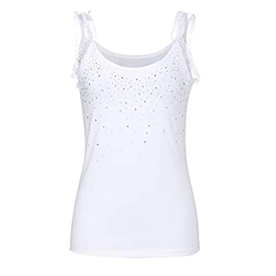 TUSANG Womens Tees Rhinestone Lace Insert Fitted Tank Tops Shirt Blouse Camisole Off Shouder Sexy Slim Fit Blouse(White,US-6/CN-M)