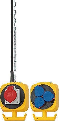 Brennenstuhl 1151960010 Pendel Stromverteiler IP44 / Hängeverteiler für innen und außen mit einem 5m H07RN-F 5G1,5 Kabel (3X Schutzkontakt, 1x CEE-Steckdose, Made in Germany), Schwarz