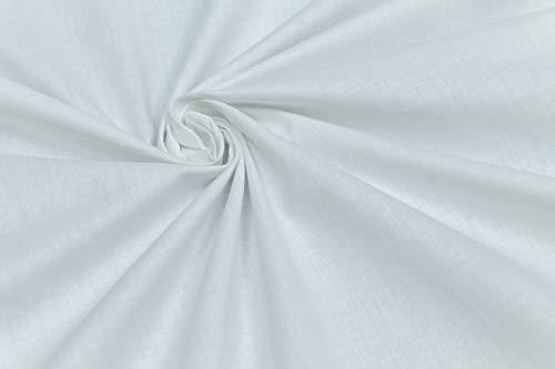 Tessuto di 100% Cotone al Mezzo Metro - Mussola Tinta Unita - Bianco - Beige - Altezza 140 cm - 150 gr/mq - Alta qualità (Bianco)