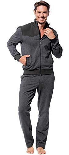 Morgenstern Herren Hausanzug Jogginganzug in Grau zweiteilig Jersey Anzug Männerfreizeitanzug Home Office Anzug Herrenjogginganzug elegant Größe XL 54 56