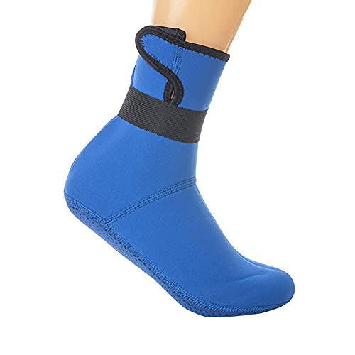 QAOSHOP Calcetines de buceo de neopreno para hombre y mujer, para niños, térmicos, antideslizantes, elásticos, con aleta de agua, calcetines de buceo, calcetines largos de agua, azul, L