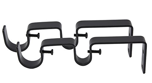 """MERIVILLE Double Curtain Rod Bracket - Designed for 1"""" Frond Rod and 5/8"""" Back Rod Double Drapery Rod, Black, Set of 2"""