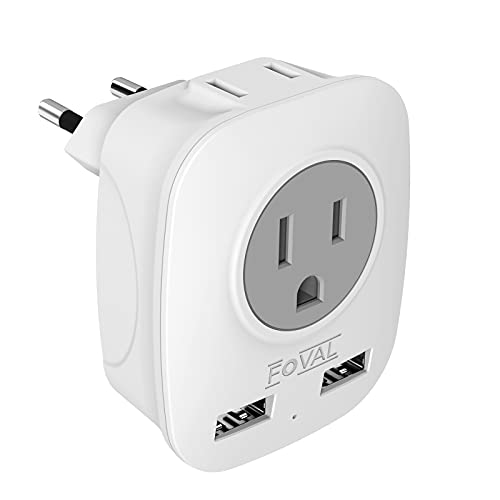 European Plug Adapter, FOVAL International Travel Power Adaptor with 2 USB, 4 in 1 US to Europe Travel Plug Adapter for France, Italy, Germany, Spain, Greece (Type C) (1 Pack)