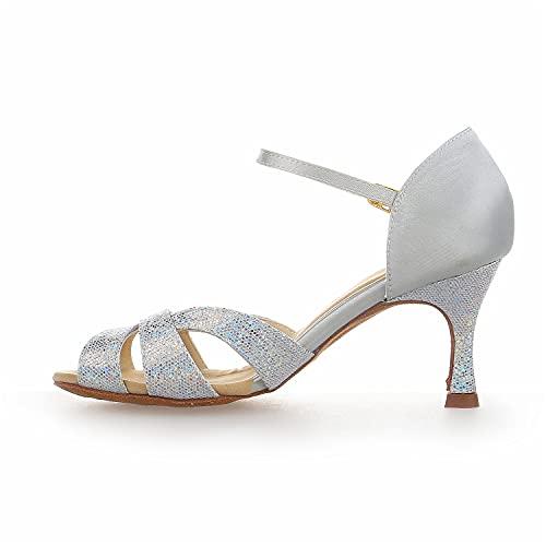 JIA JIA Y2054 Damen Sandalen Ausgestelltes Heel Super-Satin mit Pailletten Latein Tanzschuhe Silber, 42 - 3
