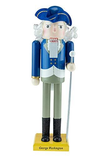 Clever Creations - Cascanueces de Navidad - Figura Decorativa Tradicional de Madera - George Washington - con Traje Colonial Azul con un bastón - 35,5cm
