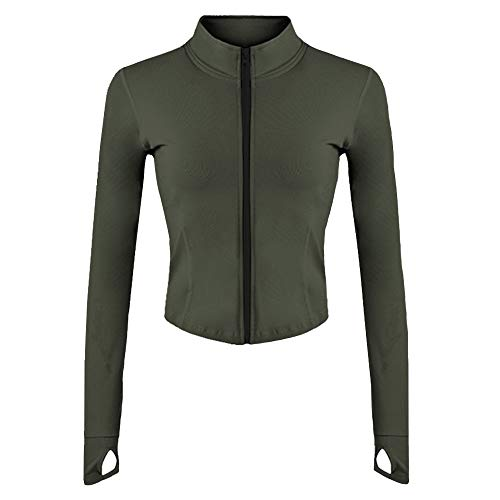 Gihuo Women's Athletic Full Zip Lightweight Workout Jacket with Thumb Holes(ArmyGreen-M)