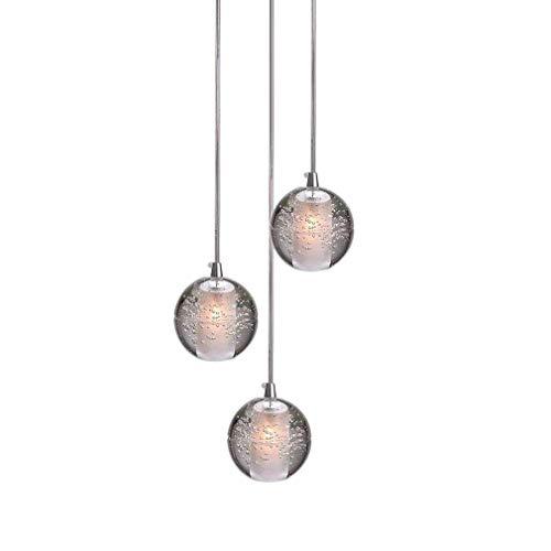 LED Kristall Ball Pendelleuchte Hängelampe für Wohnzimmer Loft Treppe Foyer Esszimmer Esstisch Bar Schlafzimmer Chrom Höhenverstellbar Kronleuchter Decken Leuchter Modern Deckenleuchte, 3 Flammig