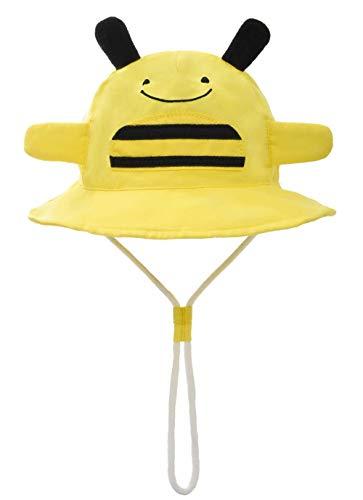 Foruhoo Baby Sonnenhut Kinder Hut, Sommerhut Mütze for Jungen Mädchen mit Verstellbar Kordelzug (54cm / 4-8 Jahre,Biene)