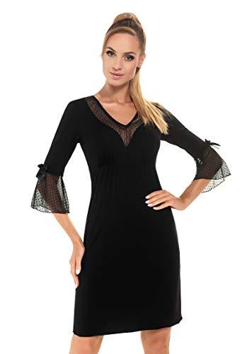 Donna Elegantes und sehr hochwertiges Nachthemd/Negligee/Sleepshirt mit zarten Spitzendetails (M (38), Schwarz mit 3/4-Ärmel)