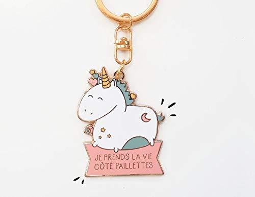 Porte clés Je prends la vie côté paillettes - Licorne | cadeau licorne, porte-clefs licorne, porte-clés licorne