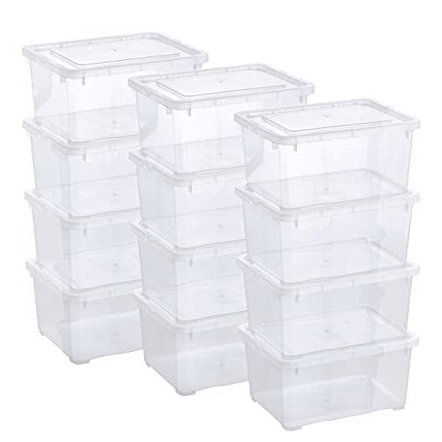 Grizzly Aufbewahrungsboxen 12 x 1,7 L mit Deckel transparent - Klarsichtboxen stapelbar mit Belüftung