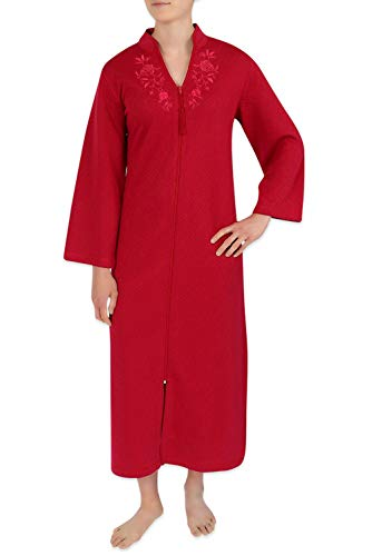 Miss Elaine Robe - Long Lightweight Quilt-in Knit Zipper Bathrobe Cranberry