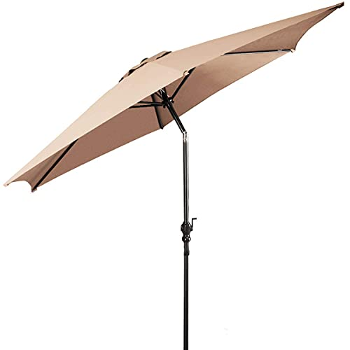 GIANTEX – Ombrellone da Giardino Inclinabile Grande Parasole Protezione UV, Ombrello da Spaggia in Alluminio e Poliestere con Manovella (beige, 3m)