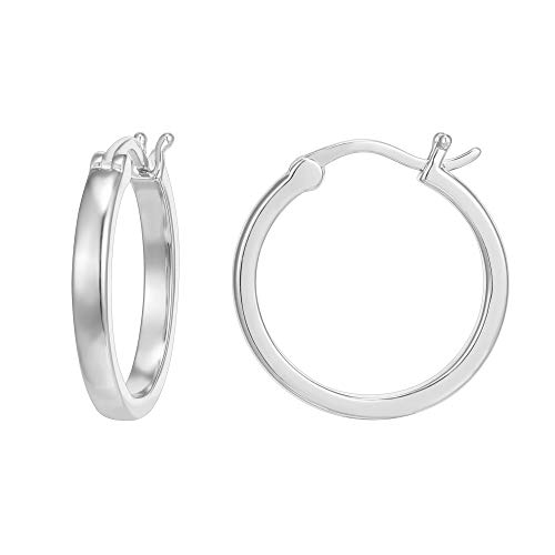 PAVOI 14K White Gold Plated 925 Sterling Silver Post Lightweight Hoops | White Gold