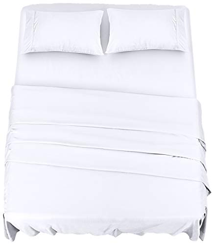 Utopia Bedding Bed Sheet Set - 4 Piece Queen Bedding - Soft Brushed Microfiber Fabric - Wrinkle, Shrinkage & Fade Resistant - Easy Care (Queen, White)