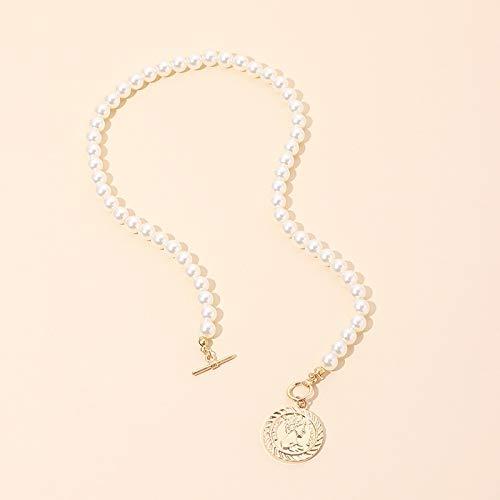 QiaoShiRen Anhänger Halsketten Pearl-Schiebeschließe Halsketten Frauen minimalistische runde geometrische Pendelleuchte Choker Collier Schmuck & Accessoires (Metal Color : Round Head)