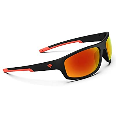 TOREGE Polarized Sports Sunglasses for Men Women Running Fishing Golf Driving Cycling Baseball TR90 Frame Glasses for Polarized UV Protection TR19 Hyperion (Matte Black&Red&Red Revo Lens)