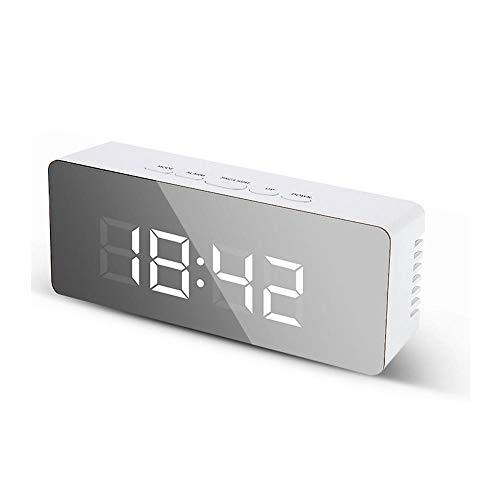 FIONAT Reloj Despertador Digital Espejo Led Luces Nocturnas Termómetro Maquillaje Reloj De Pared Lámpara Rectángulo Relojes De Escritorio Multifunción USB/AAA para Dormitorio Oficina-A
