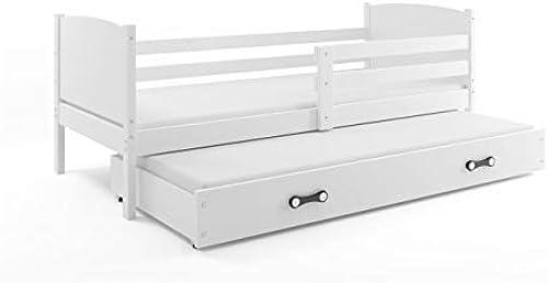 Interbeds Funktionsbett Tami 190x90cm Farbe Weiß + 2. Farbe zur Wahl; mit Lattenroste und Matratzen (Weiß)