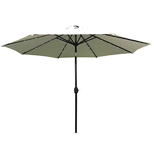 HENGMEI 300cm ALU Sonnenschirm Gartenschirm Terrassenschirm Marktschirm Ampelschirm Strandschirm Kurbelschirm mit UV Schutz 40+, mit Solar LED Warmweiß für Balkon, Garten, Terrasse (300cm, Beige)