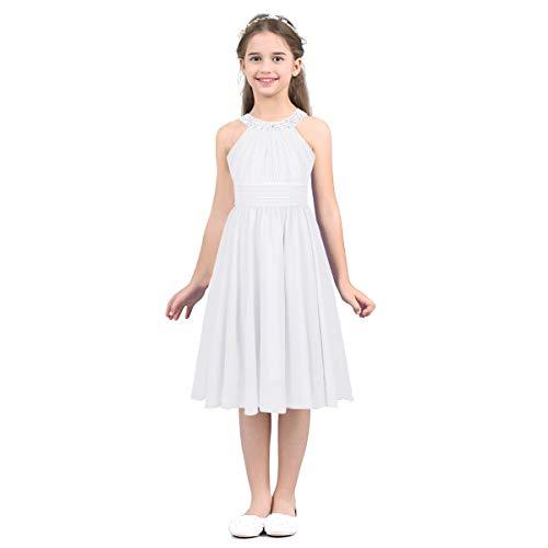 Freebily Vestido Largo de Gasa Fiesta Niña Princesa Vestido Verano Plisado para Boda Ceremonia Novia Damas de Honor Cuello con Estrás Brillos Elegante Blanco 12 Años