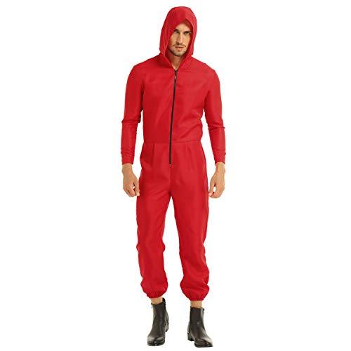 dPois Herren Roter Overall Jumpsuit Einteiler mit Kapuze Langarm Erwachsene Cosplay Kostüm für Halloween Weihnachten Party Karneval Rot Small