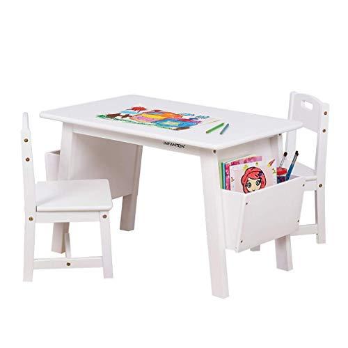 NSYNSY Juego de mesas y sillas de Madera Maciza para niños Mesa de Estudio de jardín de Infantes con Caja de Almacenamiento Mesa de Juegos para bebés Mesa de Pintura para el hogar 80cm Escritorio b