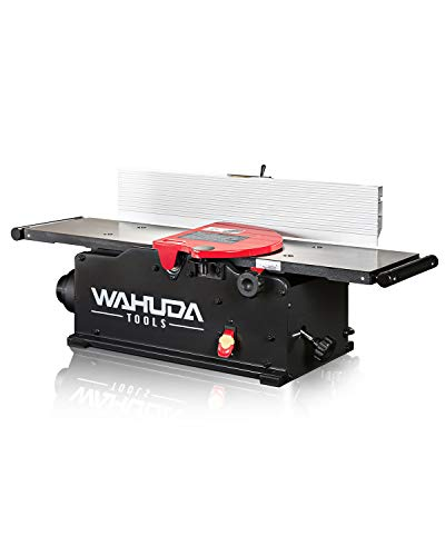 Wahuda Tools Jointer - 8-inch Benchtop Wood Jointer, Spiral Cutterhead Portable Jointer, Cast Iron Tables w/Pull Out Extensions, 4-Sided Carbide Tips & 10amp Motor, Woodworking Tools (50180CC-WHD)