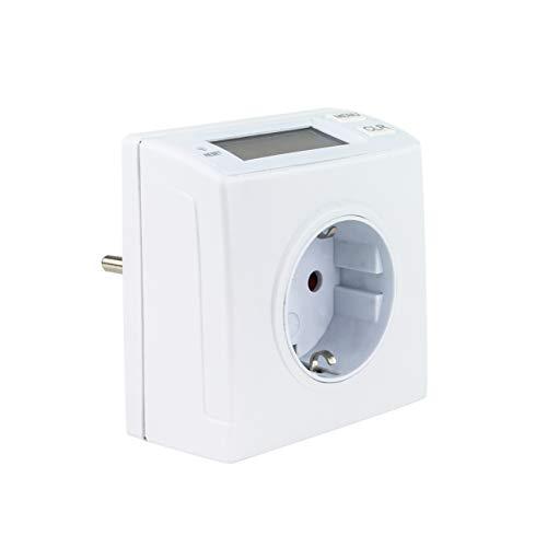 REV Ritter | Steckdose mit Zähler | Energiemessgerät | Stromzähler mit LCD-Display | Datenspeicherung bei Stromausfall | erhöhter Berührungsschutz | 16A, 230V~/50Hz, max. 3680W | Farbe: weiss