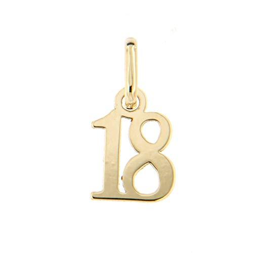 Lucchetta Joyas - Colgante de Oro Amarillo aniversario de 18 años para Nina, Regalo de niña de dieciocho años Cumpleaños sin cadena (disponible para la compra por separado)