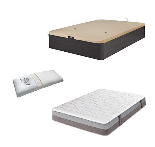 DHOME Pack Canape abatible tapizado 3D Madera + Colchón viscografeno, Reversible mas Almohada viscoelastica (135x180 Ceniza,...