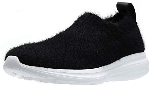 WHITIN Women's Walking Shoes Slip on Comfort Lightweight Flats Casual Slippers Stretch Mohair Non Slip Wide Width Warm Nurse Female Best House Indoor Sneakers for Ladies Black Size 6.5