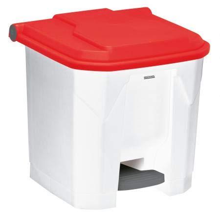 Poubelle à pédale Utilo - 30l - blanc/rouge