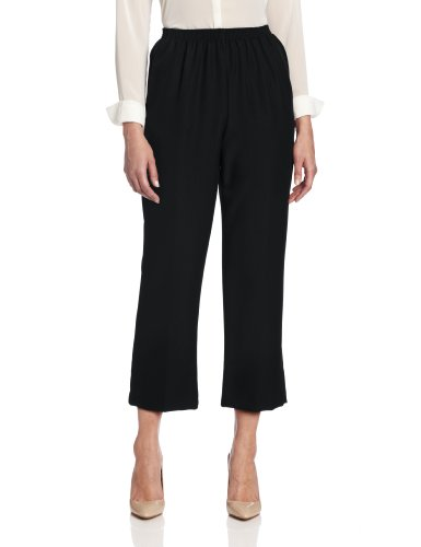 Alfred Dunner Women's Pull-On Style All Around Elastic Waist Polyester Cropped Missy Pants, Black, 14