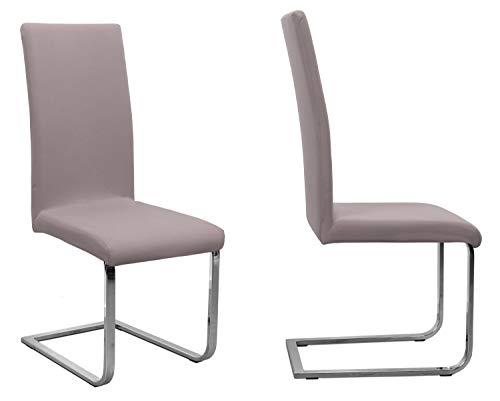 BEAUTEX 2er Set Jersey Stuhlhusse (Farbe wählbar), elastische Uni Stretch-Husse aus Baumwolle Bi-Elastisch (Taupe-Braun)