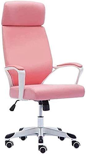 PANGPANGDEDIAN Sedia da Ufficio Sedia da Ufficio Desk per Computer Sedie Girevole in Pelle Girevole Sedia da Stoffa Carina Regolabile Poltrona (Color : Pink)