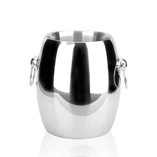 DMKD Cubo de hielo vanguardista de doble capa portátil creativo de estilo europeo, barra de hielo de champán de vino tinto, cubo de hielo grande para el hogar, acero inoxidable plateado 4.5L zkz DMKD