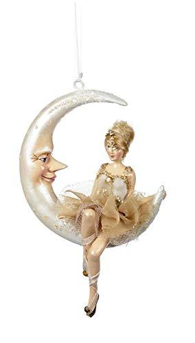 Goodwill: Kathrines Collection Dekofigur Ballerina auf dem Mond, 14 cm, Kunstharz (cremefarben/goldfarben)