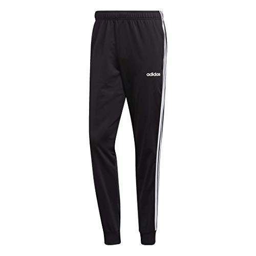 adidas Men's Essentials 3-Stripes Tapered Tricot Pants, Black/White, Medium