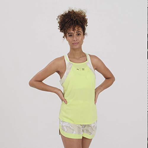 PUMA The First Mile Tank Camiseta De Tirantes, Mujer, Sunny Lime-Camo PRT, XS