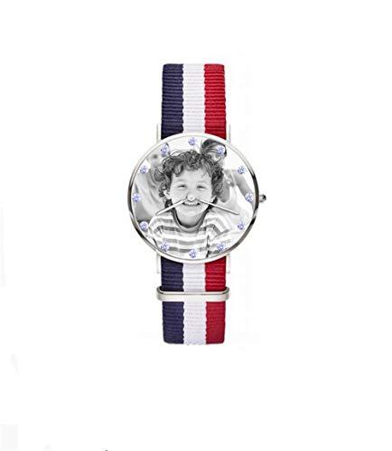Personalisierte gravierte hölzerne Uhren für Männer. Bild & Text Doppelseitige Gravur zum Vatertagsgeschenk