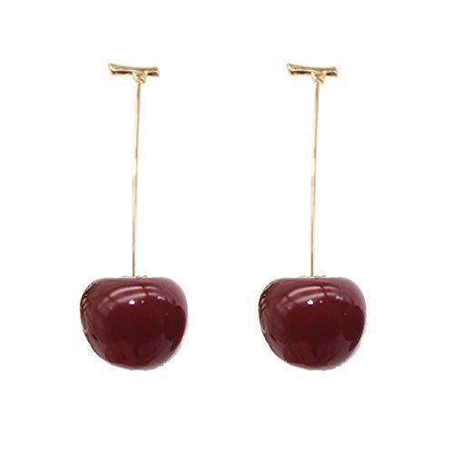 CAVIVI Pendientes lindos de la fruta de la cereza de la moda para las mujeres borla roja pendientes colgantes dulce largo colgante niña regalo joyería de verano, vino tinto