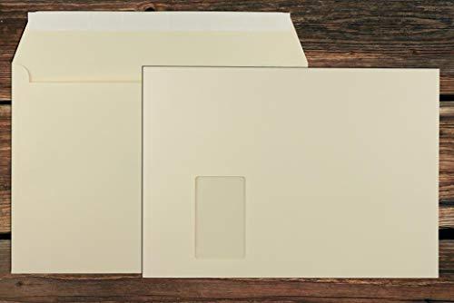 Elco Color Briefumschläge mit Fenster/hell - chamois / 229 x 324 mm (C4) / mit Abziehstreifen/Versandtasche/haftklebend / 250 Stück