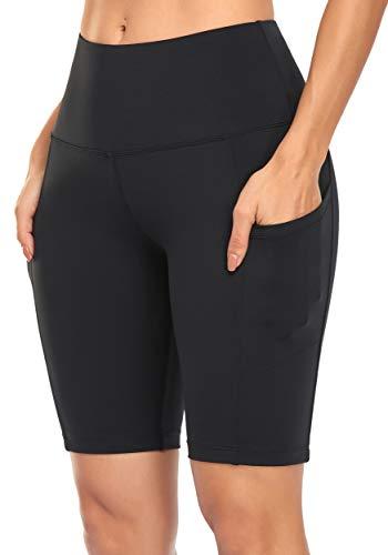 Jugofar Women's Yoga Shorts Running Workout Bike Hiking High Waist Shorts with Side Pockets Black XL