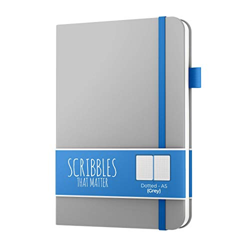 A5 Dotted Journal von Scribbles That Matter - Bullet Dot Grid-Notizbuch - Kein blutendes, dickes 160 g / m² Füllfederhalter-freundliches Papier - Hardcover - Profi Version - Grau