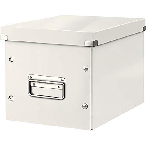 Leitz Caja de Almacenaje Mediana en Forma de Cubo, Blanco, Gama Click & Store, 61090001
